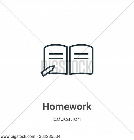 Homework Icon From Education Collection Isolated On White Background.