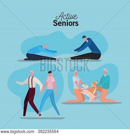 Set Of Active Seniors Woman And Man Cartoons On Blue Background Design, Activity Theme Vector Illust