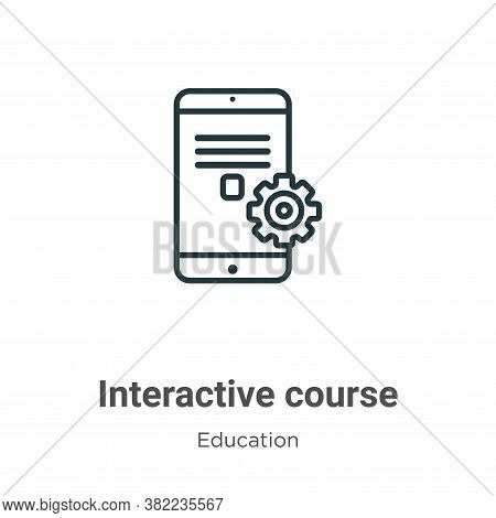 Interactive course icon isolated on white background from education collection. Interactive course i