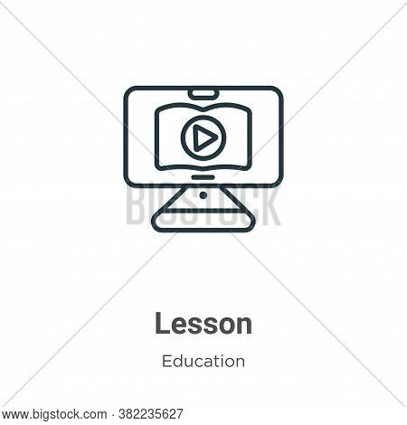 Lesson icon isolated on white background from online learning collection. Lesson icon trendy and mod