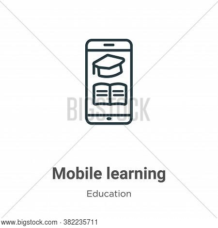 Mobile learning icon isolated on white background from education collection. Mobile learning icon tr