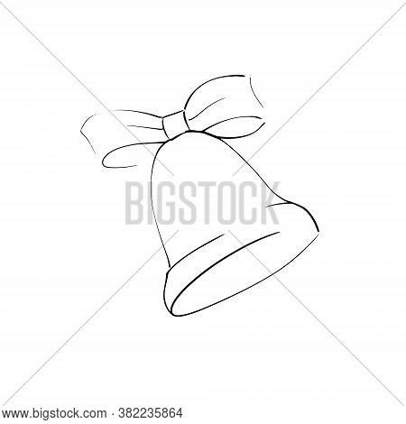 Icon Vector Bell With Ribbon Bow Knot Outline Only No Fill On White Background. Flat Icon For Web, A