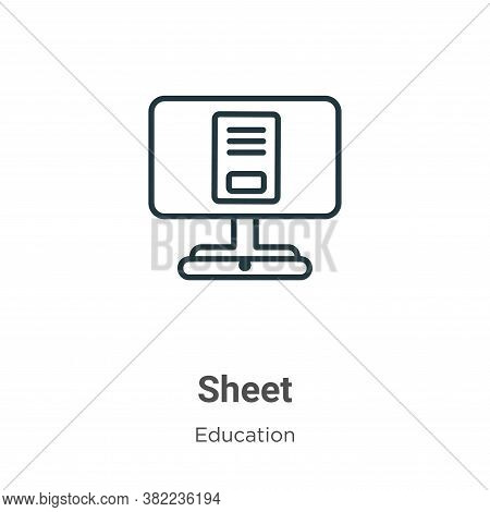 Sheet icon isolated on white background from online learning collection. Sheet icon trendy and moder