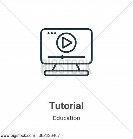 Tutorial icon isolated on white background from online learning collection. Tutorial icon trendy and