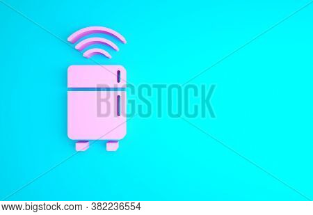 Pink Smart Refrigerator Icon Isolated On Blue Background. Fridge Freezer Refrigerator. Internet Of T