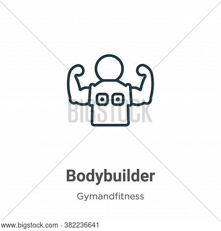 Bodybuilder icon isolated on white background from gym and fitness collection. Bodybuilder icon tren