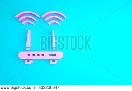 Pink Router And Wi-fi Signal Icon Isolated On Blue Background. Wireless Ethernet Modem Router. Compu
