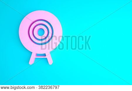 Pink Target Sport Icon Isolated On Blue Background. Clean Target With Numbers For Shooting Range Or