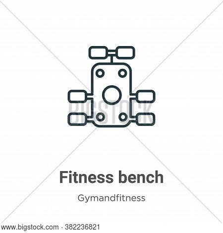 Fitness bench icon isolated on white background from gym and fitness collection. Fitness bench icon