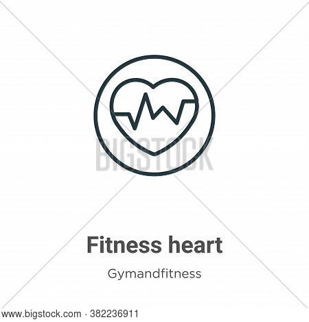 Fitness heart icon isolated on white background from gym and fitness collection. Fitness heart icon