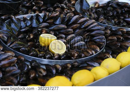 Turkish Delicious Rice Stuffed Mussels Also Known As Midey Dolma As Turkish With Lemon Slices