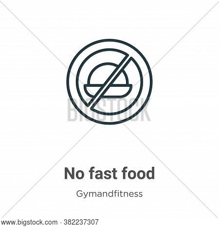 No fast food icon isolated on white background from gym and fitness collection. No fast food icon tr
