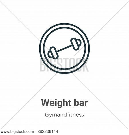 Weight bar icon isolated on white background from gymandfitness collection. Weight bar icon trendy a