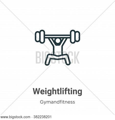 Weightlifting icon isolated on white background from gymandfitness collection. Weightlifting icon tr