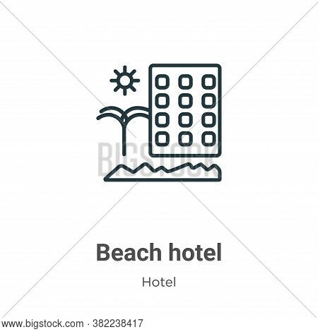 Beach hotel icon isolated on white background from hotel collection. Beach hotel icon trendy and mod