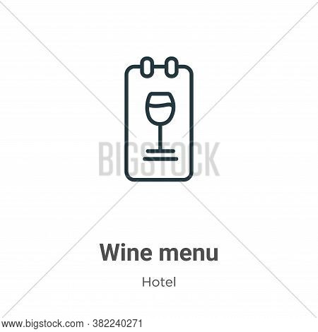 Wine menu icon isolated on white background from restaurant collection. Wine menu icon trendy and mo