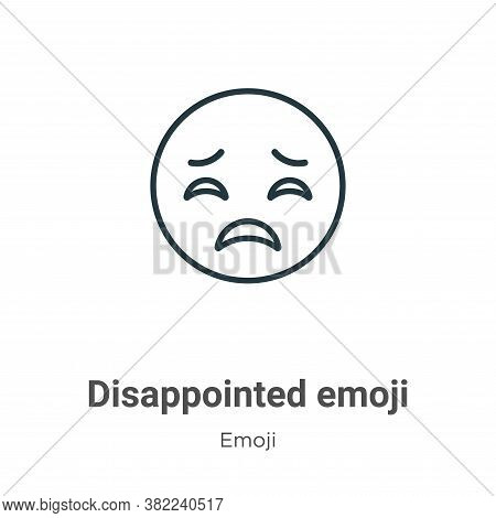 Disappointed emoji icon isolated on white background from emoji collection. Disappointed emoji icon