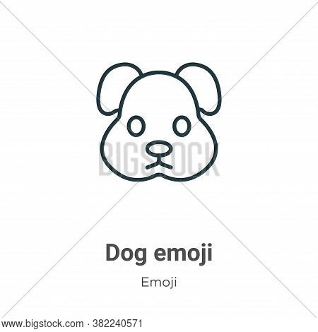 Dog emoji icon isolated on white background from emoji collection. Dog emoji icon trendy and modern