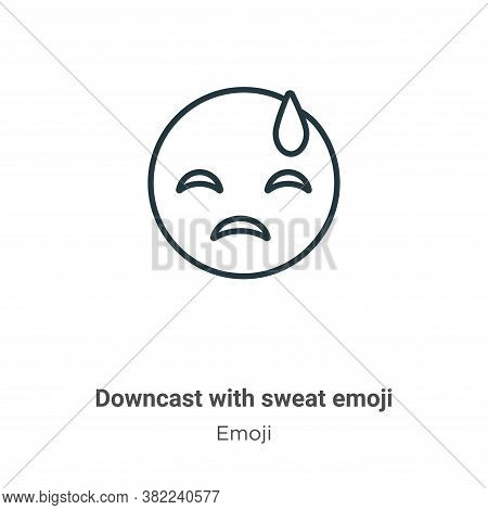 Downcast with sweat emoji icon isolated on white background from emoji collection. Downcast with swe