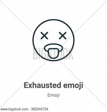 Exhausted emoji icon isolated on white background from emoji collection. Exhausted emoji icon trendy