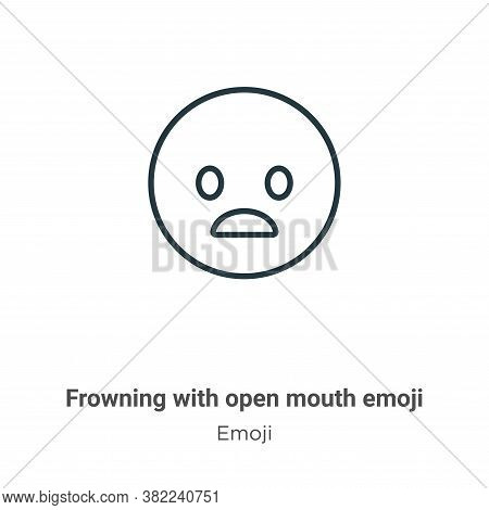 Frowning with open mouth emoji icon isolated on white background from emoji collection. Frowning wit