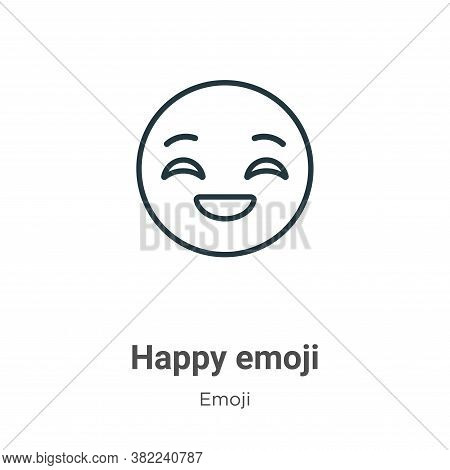 Happy emoji icon isolated on white background from emoji collection. Happy emoji icon trendy and mod