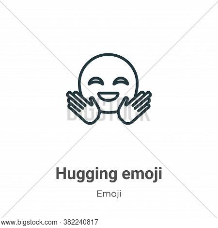 Hugging emoji icon isolated on white background from emoji collection. Hugging emoji icon trendy and
