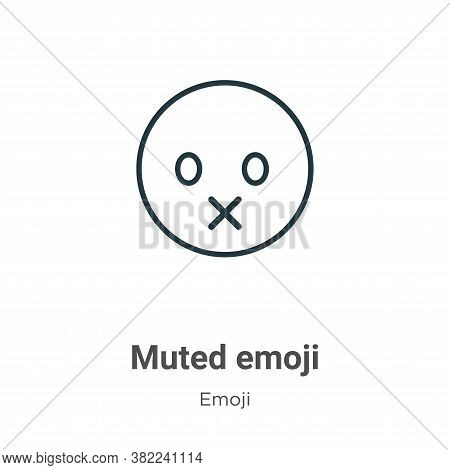 Muted emoji icon isolated on white background from emoji collection. Muted emoji icon trendy and mod