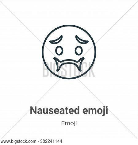 Nauseated emoji icon isolated on white background from emoji collection. Nauseated emoji icon trendy