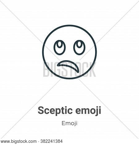 Sceptic emoji icon isolated on white background from emoji collection. Sceptic emoji icon trendy and