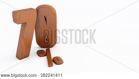 Wooden Number Isolated On White Background .70 Seventy Percent Sale. Black Friday Idea. 70%. 3d Rend
