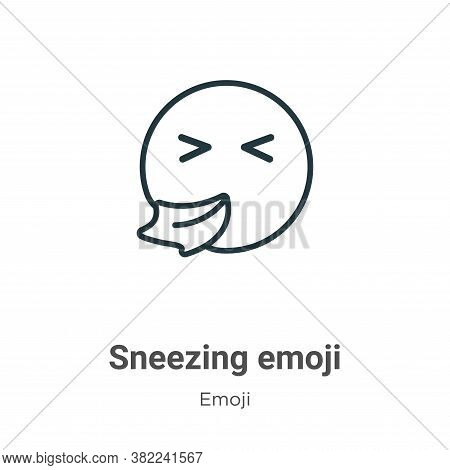 Sneezing emoji icon isolated on white background from emoji collection. Sneezing emoji icon trendy a