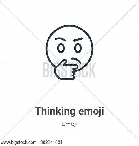 Thinking emoji icon isolated on white background from emoji collection. Thinking emoji icon trendy a