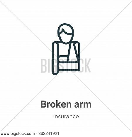 Broken arm icon isolated on white background from insurance collection. Broken arm icon trendy and m