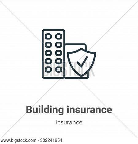 Building insurance icon isolated on white background from insurance collection. Building insurance i