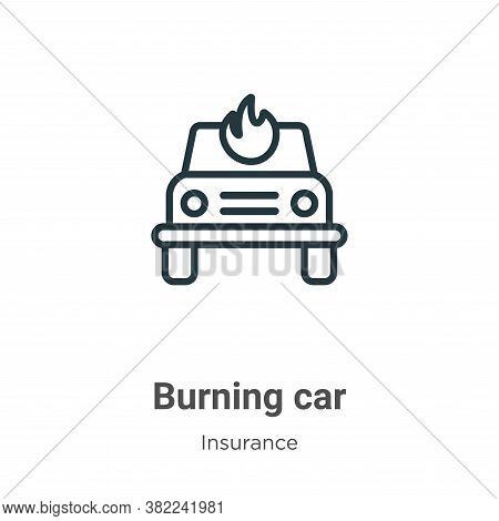 Burning car icon isolated on white background from insurance collection. Burning car icon trendy and