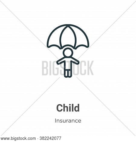 Child icon isolated on white background from insurance collection. Child icon trendy and modern Chil