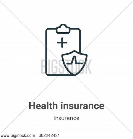 Health insurance icon isolated on white background from insurance collection. Health insurance icon