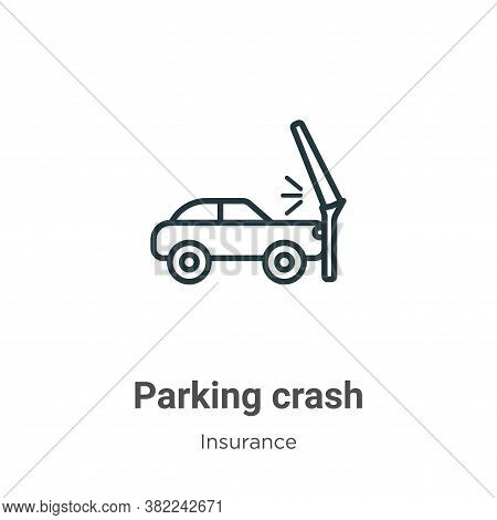 Parking crash icon isolated on white background from insurance collection. Parking crash icon trendy