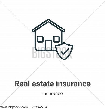 Real estate insurance icon isolated on white background from insurance collection. Real estate insur