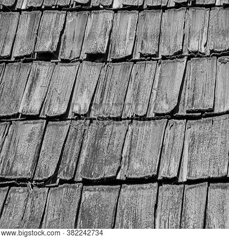 Black And White Old Wood Thatch Roof Shingles For Textures, Design Elements And Backgrounds.
