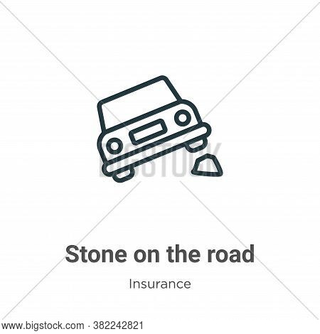 Stone on the road icon isolated on white background from insurance collection. Stone on the road ico