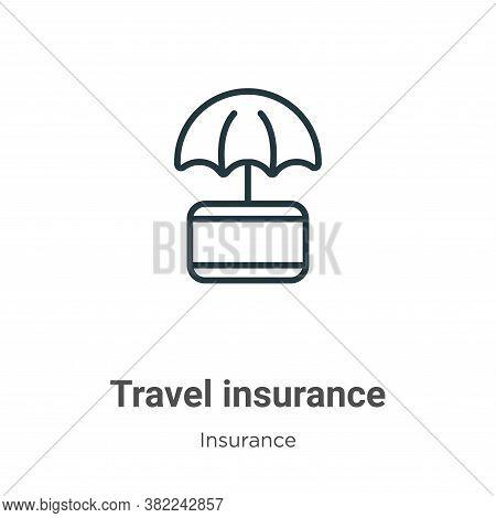Travel insurance icon isolated on white background from insurance collection. Travel insurance icon