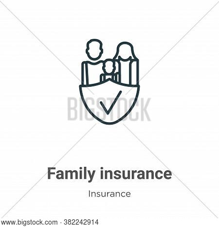 Family insurance icon isolated on white background from insurance collection. Family insurance icon
