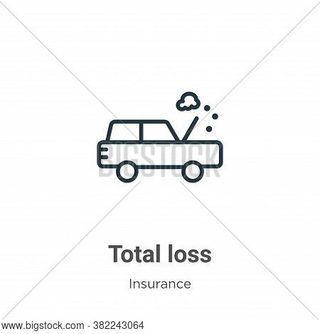 Total loss icon isolated on white background from insurance collection. Total loss icon trendy and m