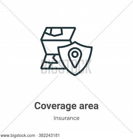 Coverage area icon isolated on white background from insurance collection. Coverage area icon trendy