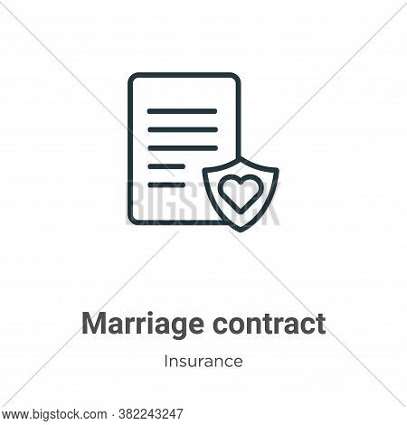 Marriage contract icon isolated on white background from insurance collection. Marriage contract ico