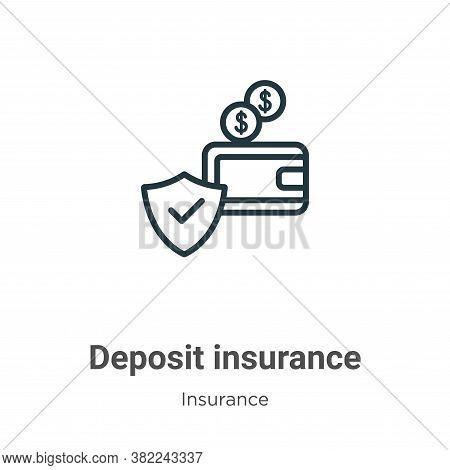Deposit insurance icon isolated on white background from insurance collection. Deposit insurance ico
