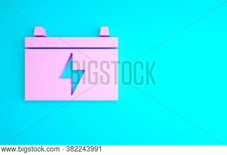 Pink Car Battery Icon Isolated On Blue Background. Accumulator Battery Energy Power And Electricity