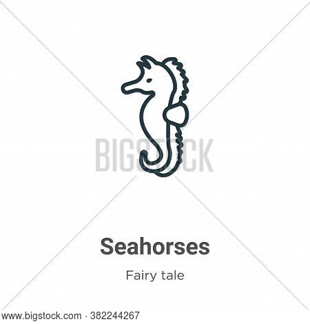 Seahorses Icon From Fairy Tale Collection Isolated On White Background.